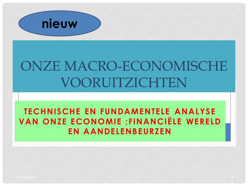 11/12/20144 ONZE MACRO-ECONOMISCHE VOORUITZICHTEN TECHNISCHE EN FUNDAMENTELE ANALYSE VAN ONZE ECONOMIE ;FINANCIËLE WERELD EN AANDELENBEURZEN nieuw