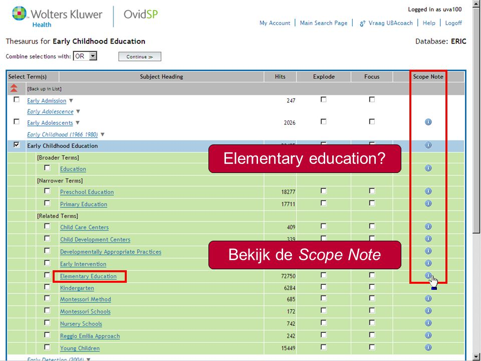 13 Elementary education Bekijk de Scope Note
