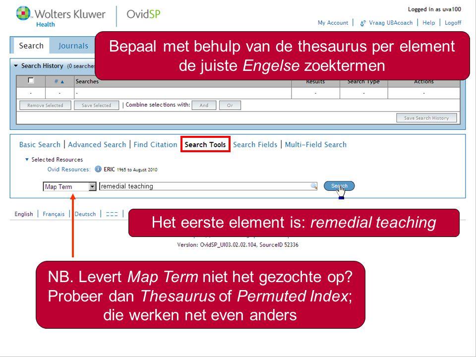 4 Bepaal met behulp van de thesaurus per element de juiste Engelse zoektermen Het eerste element is: remedial teaching remedial teaching NB. Levert Ma