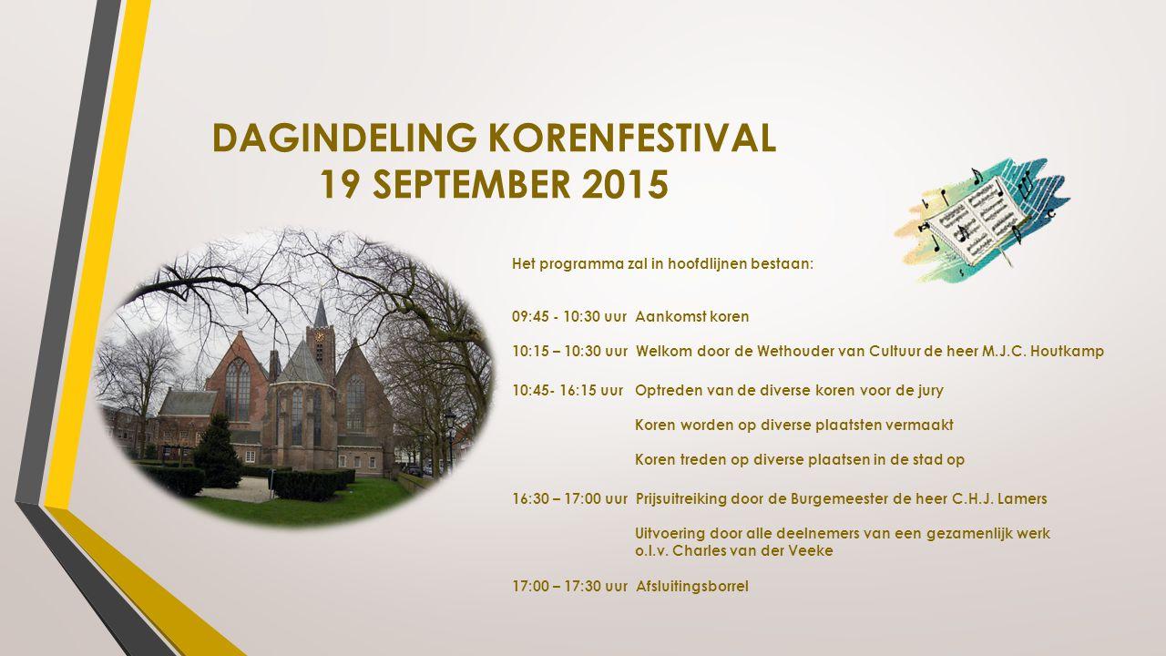 DAGINDELING KORENFESTIVAL 19 SEPTEMBER 2015 Het programma zal in hoofdlijnen bestaan: 09:45 - 10:30 uur Aankomst koren 10:15 – 10:30 uur Welkom door d