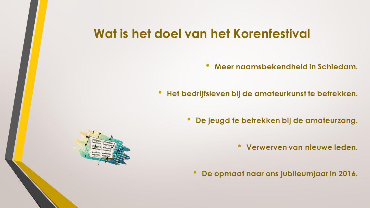 Wat is het doel van het Korenfestival Meer naamsbekendheid in Schiedam. Het bedrijfsleven bij de amateurkunst te betrekken. De jeugd te betrekken bij