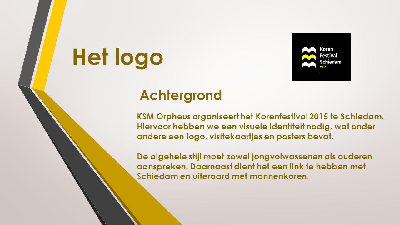 Achtergrond KSM Orpheus organiseert het Korenfestival 2015 te Schiedam. Hiervoor hebben we een visuele identiteit nodig, wat onder andere een logo, vi