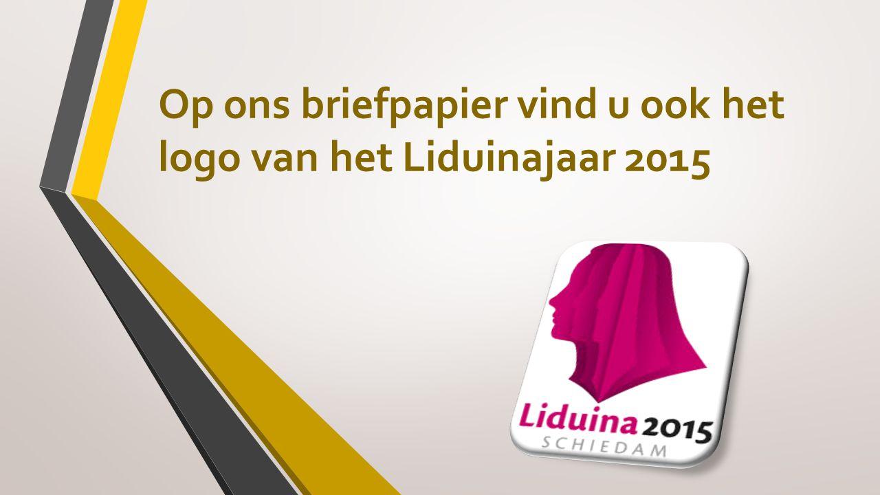 Op ons briefpapier vind u ook het logo van het Liduinajaar 2015