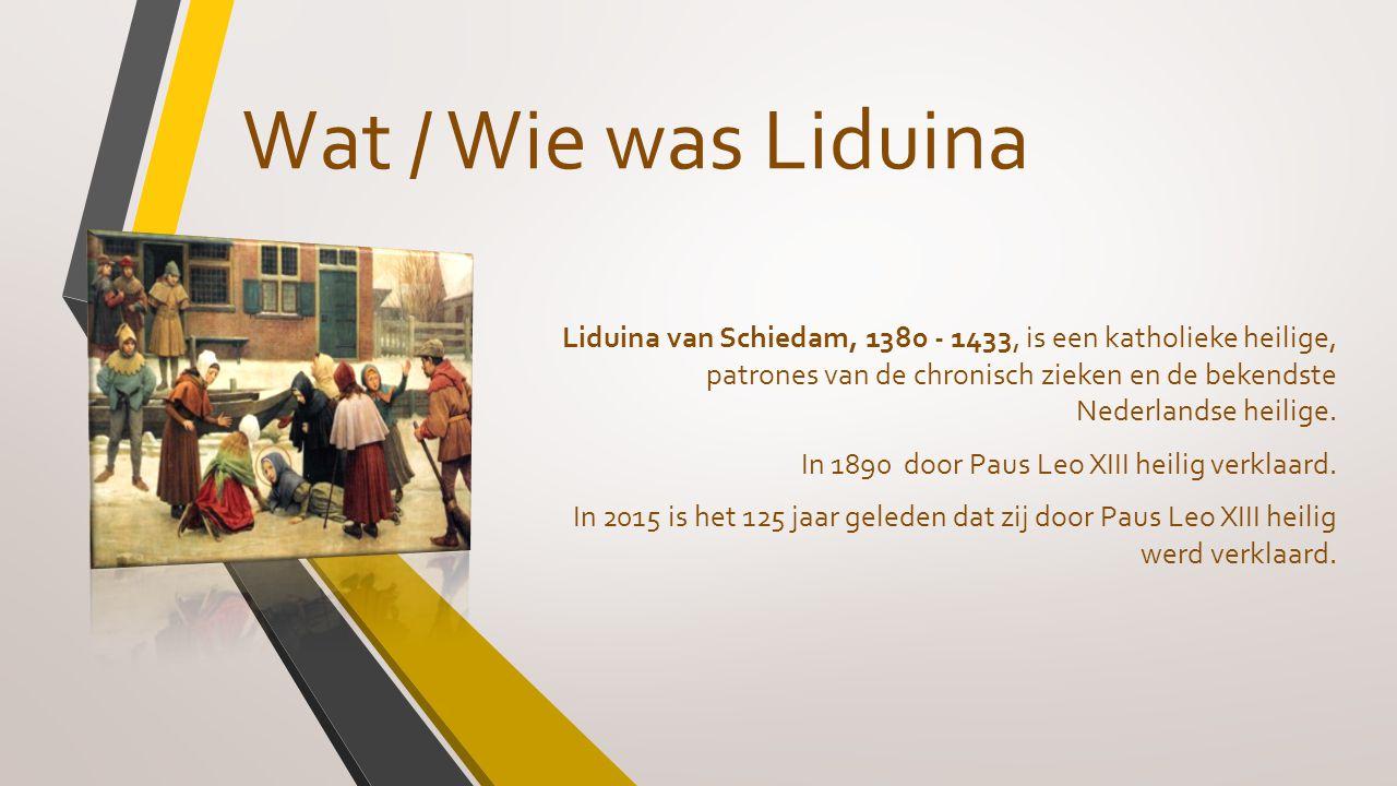 Wat / Wie was Liduina Liduina van Schiedam, 1380 - 1433, is een katholieke heilige, patrones van de chronisch zieken en de bekendste Nederlandse heili