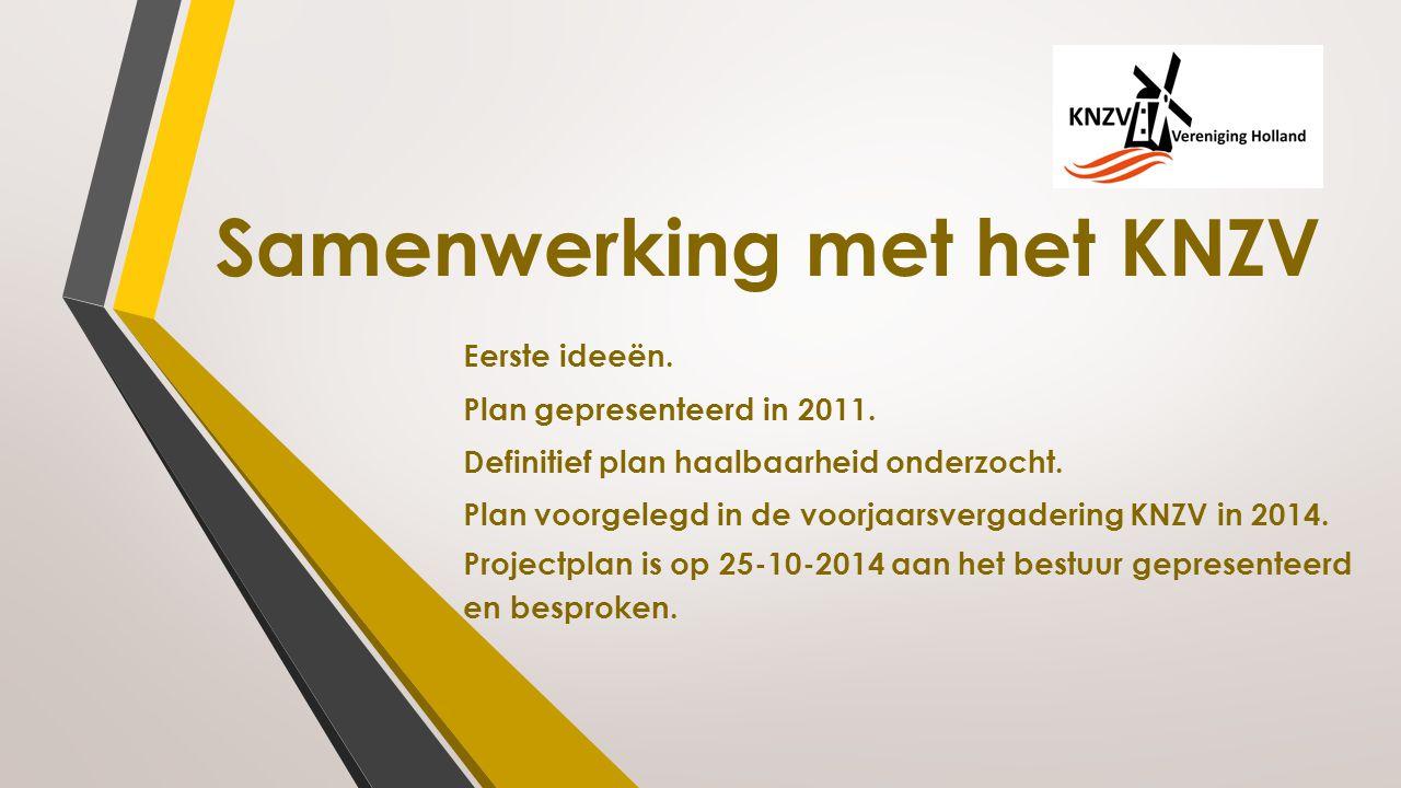 Samenwerking met het KNZV Eerste ideeën. Plan gepresenteerd in 2011. Definitief plan haalbaarheid onderzocht. Plan voorgelegd in de voorjaarsvergaderi