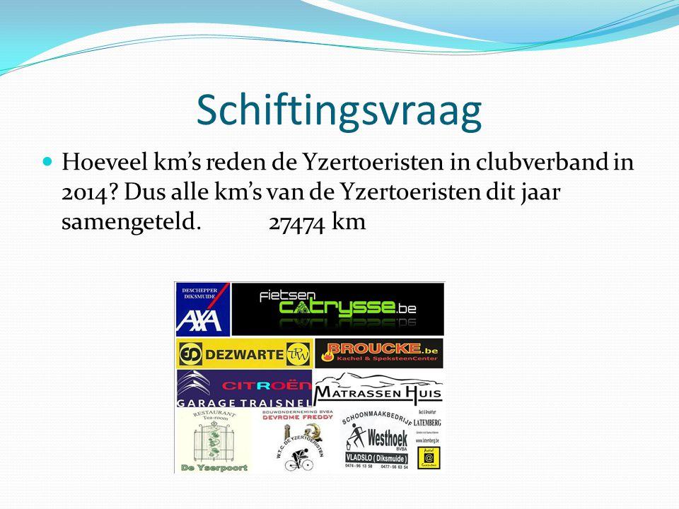 Schiftingsvraag Hoeveel km's reden de Yzertoeristen in clubverband in 2014.