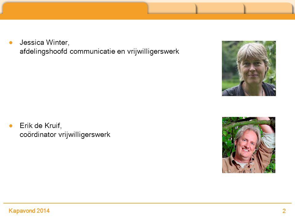 Kapavond 2014 2 ●Jessica Winter, afdelingshoofd communicatie en vrijwilligerswerk ●Erik de Kruif, coördinator vrijwilligerswerk