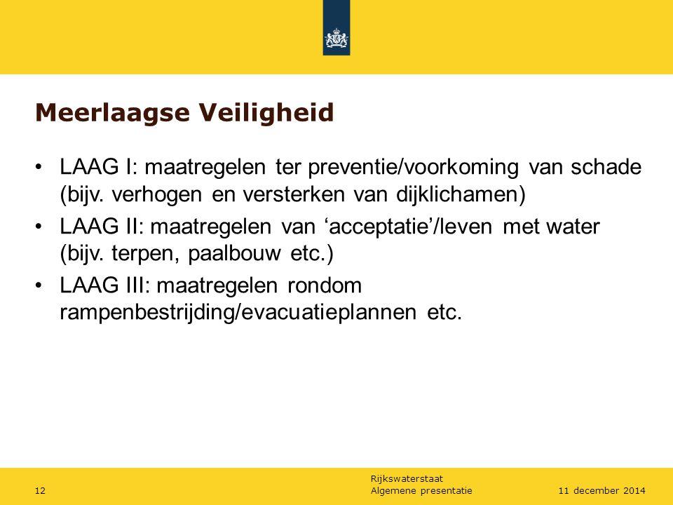 Rijkswaterstaat Meerlaagse Veiligheid LAAG I: maatregelen ter preventie/voorkoming van schade (bijv. verhogen en versterken van dijklichamen) LAAG II: