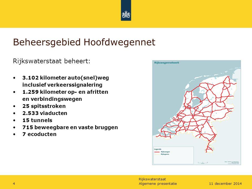 Rijkswaterstaat Algemene presentatie411 december 2014 Beheersgebied Hoofdwegennet Rijkswaterstaat beheert: 3.102 kilometer auto(snel)weg inclusief ver