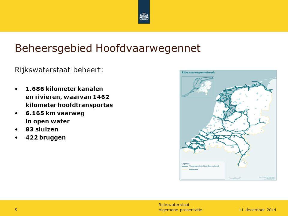 Rijkswaterstaat Algemene presentatie511 december 2014 Beheersgebied Hoofdvaarwegennet Rijkswaterstaat beheert: 1.686 kilometer kanalen en rivieren, wa