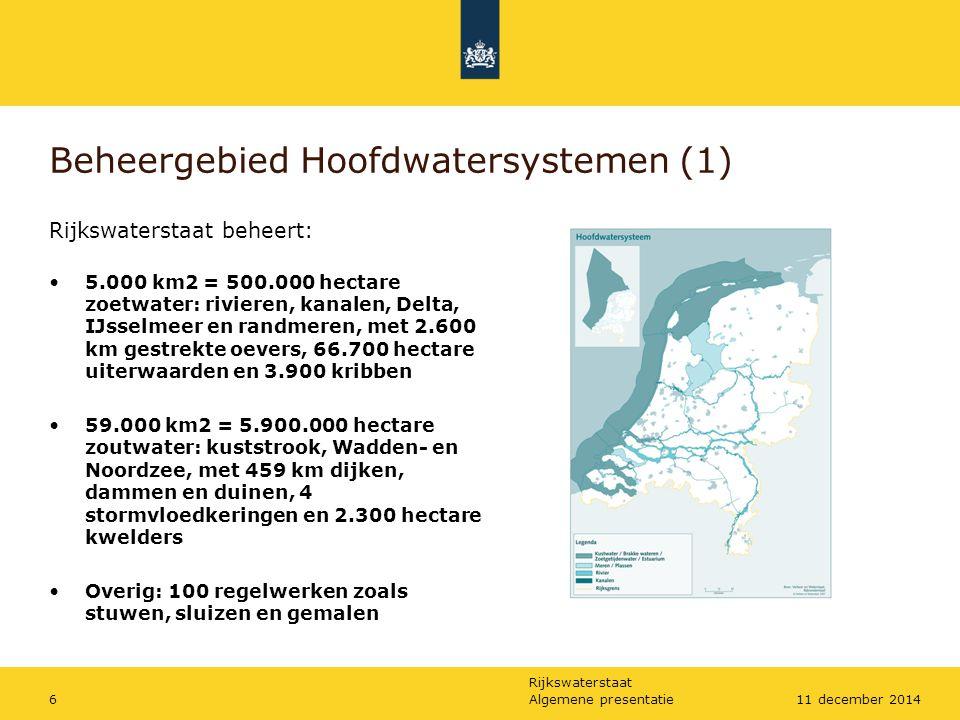 Rijkswaterstaat Algemene presentatie611 december 2014 Beheergebied Hoofdwatersystemen (1) Rijkswaterstaat beheert: 5.000 km2 = 500.000 hectare zoetwat