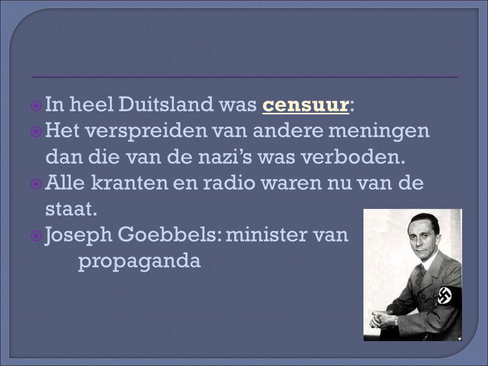  In heel Duitsland was censuur:  Het verspreiden van andere meningen dan die van de nazi's was verboden.