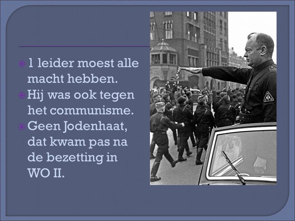  1 leider moest alle macht hebben. Hij was ook tegen het communisme.