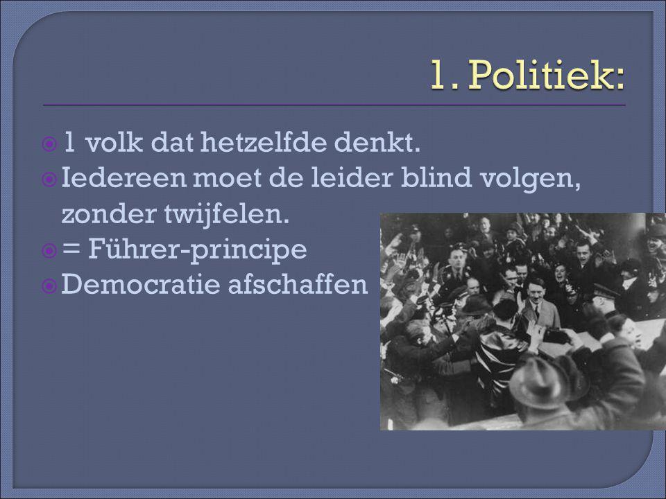  1 volk dat hetzelfde denkt. Iedereen moet de leider blind volgen, zonder twijfelen.
