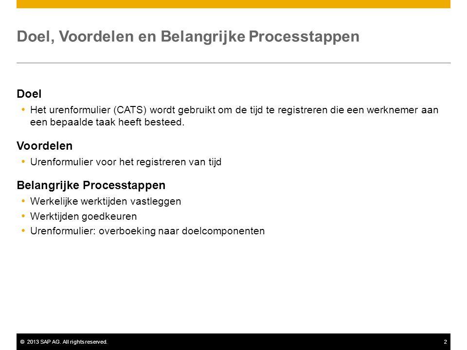 ©2013 SAP AG. All rights reserved.2 Doel, Voordelen en Belangrijke Processtappen Doel  Het urenformulier (CATS) wordt gebruikt om de tijd te registre