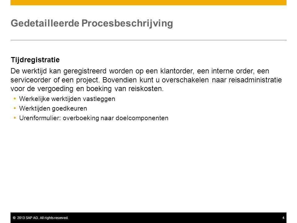 ©2013 SAP AG. All rights reserved.4 Gedetailleerde Procesbeschrijving Tijdregistratie De werktijd kan geregistreerd worden op een klantorder, een inte