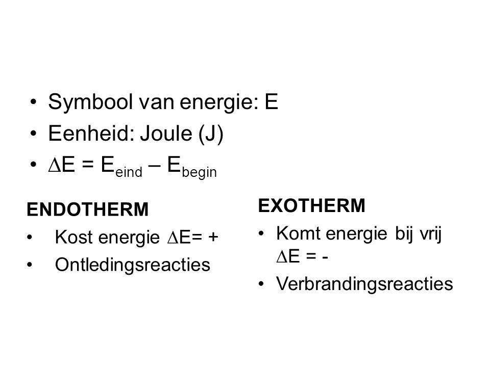 Symbool van energie: E Eenheid: Joule (J)  E = E eind – E begin ENDOTHERM Kost energie  E= + Ontledingsreacties EXOTHERM Komt energie bij vrij  E = - Verbrandingsreacties