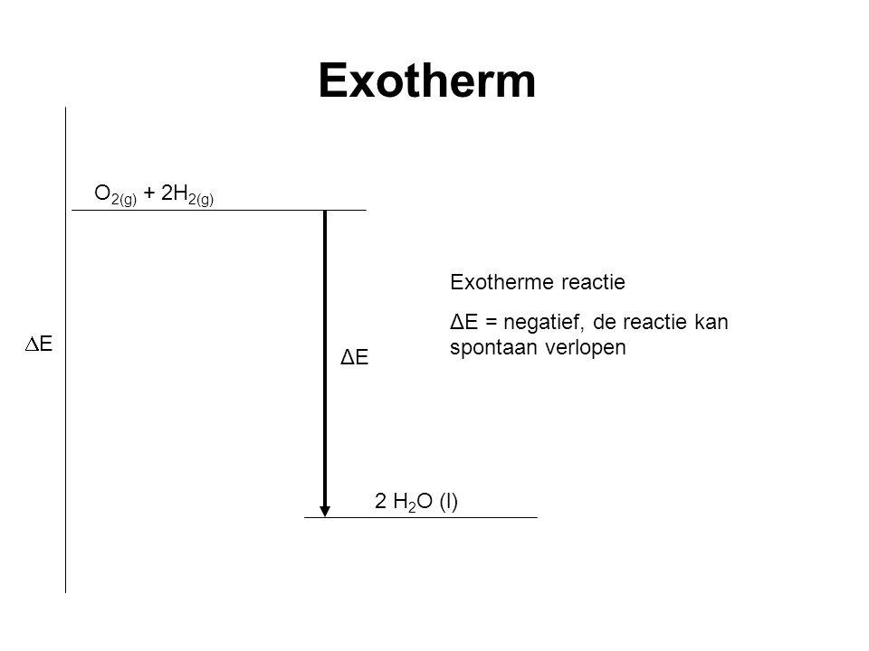 2 H 2 O (l) ΔE Exotherm EE Exotherme reactie ΔE = negatief, de reactie kan spontaan verlopen O 2(g) + 2H 2(g)