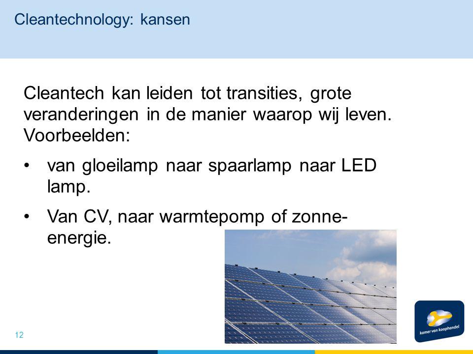Cleantechnology: kansen Cleantech kan leiden tot transities, grote veranderingen in de manier waarop wij leven. Voorbeelden: van gloeilamp naar spaarl