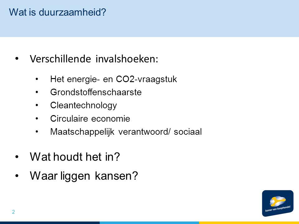 Wat is duurzaamheid? 2 Verschillende invalshoeken: Het energie- en CO2-vraagstuk Grondstoffenschaarste Cleantechnology Circulaire economie Maatschappe