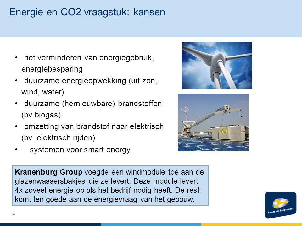 Energie en CO2 vraagstuk: kansen het verminderen van energiegebruik, energiebesparing duurzame energieopwekking (uit zon, wind, water) duurzame (herni