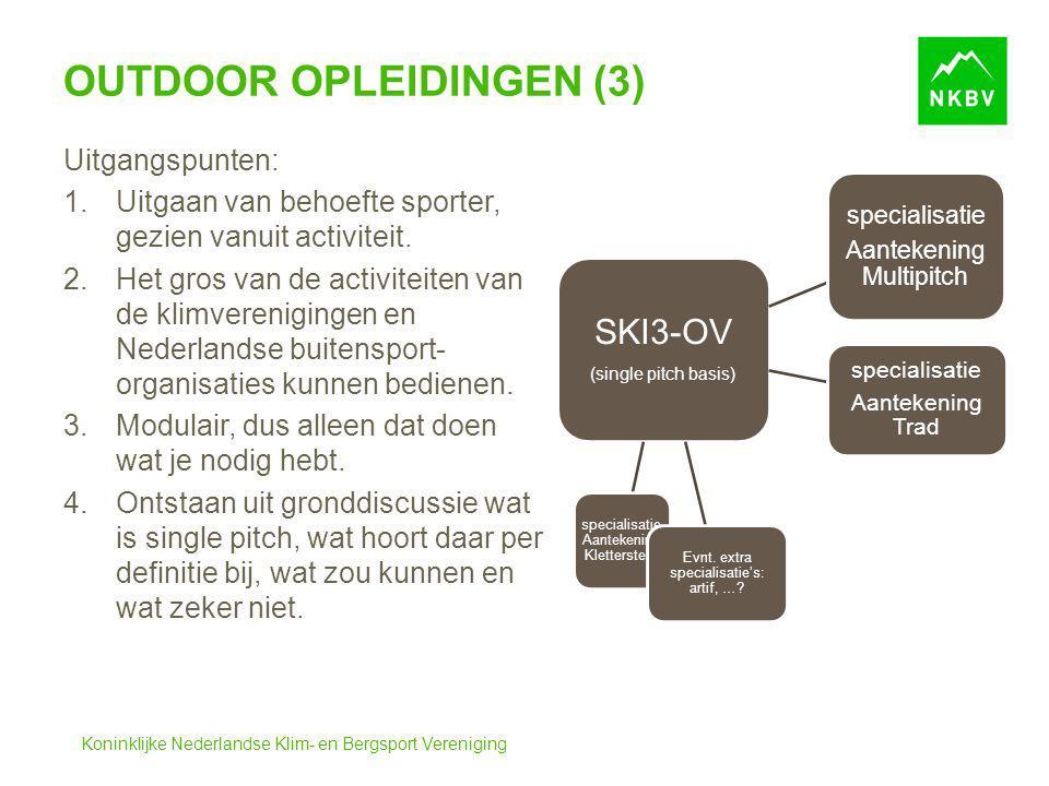 Koninklijke Nederlandse Klim- en Bergsport Vereniging OUTDOOR OPLEIDINGEN (3) SKI3-OV (single pitch basis) specialisatie Aantekening Multipitch specia