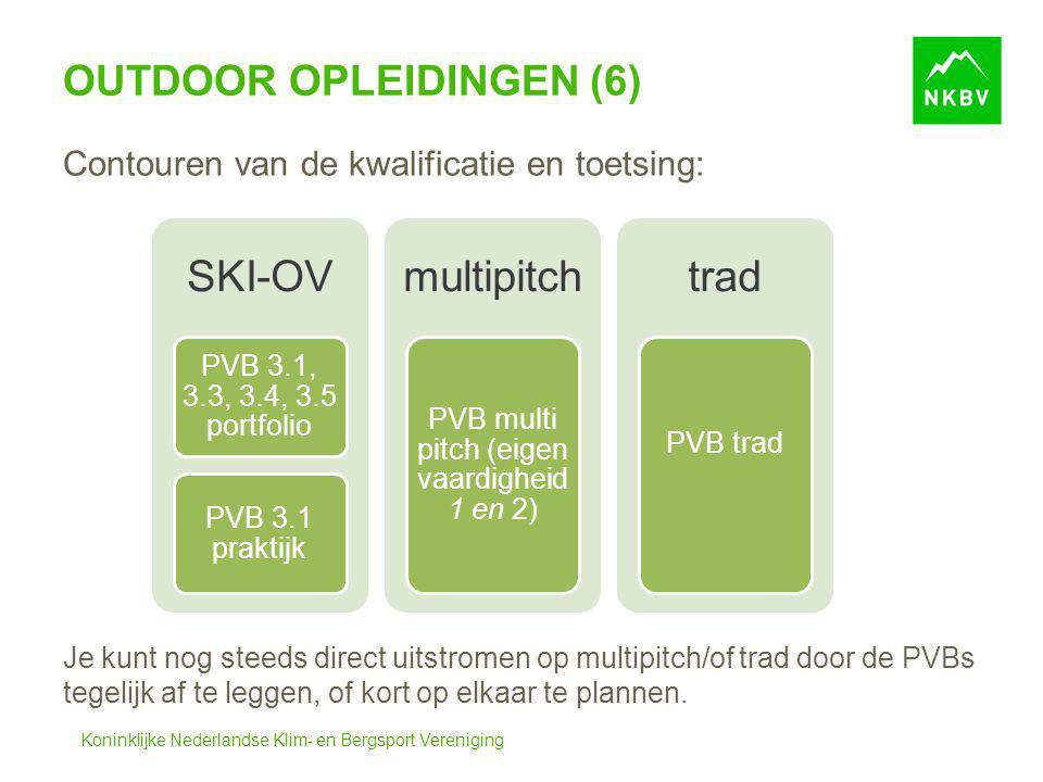 Koninklijke Nederlandse Klim- en Bergsport Vereniging OUTDOOR OPLEIDINGEN (6) Contouren van de kwalificatie en toetsing: Je kunt nog steeds direct uit