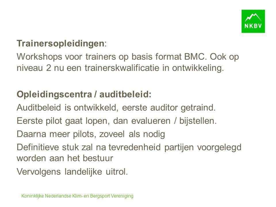 Koninklijke Nederlandse Klim- en Bergsport Vereniging Trainersopleidingen: Workshops voor trainers op basis format BMC. Ook op niveau 2 nu een trainer
