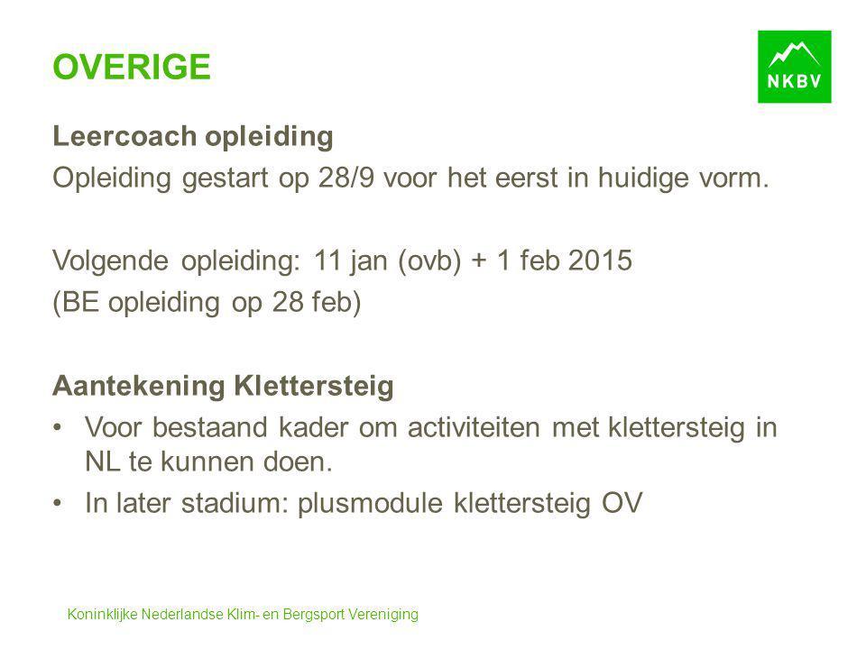 Koninklijke Nederlandse Klim- en Bergsport Vereniging OVERIGE Leercoach opleiding Opleiding gestart op 28/9 voor het eerst in huidige vorm. Volgende o