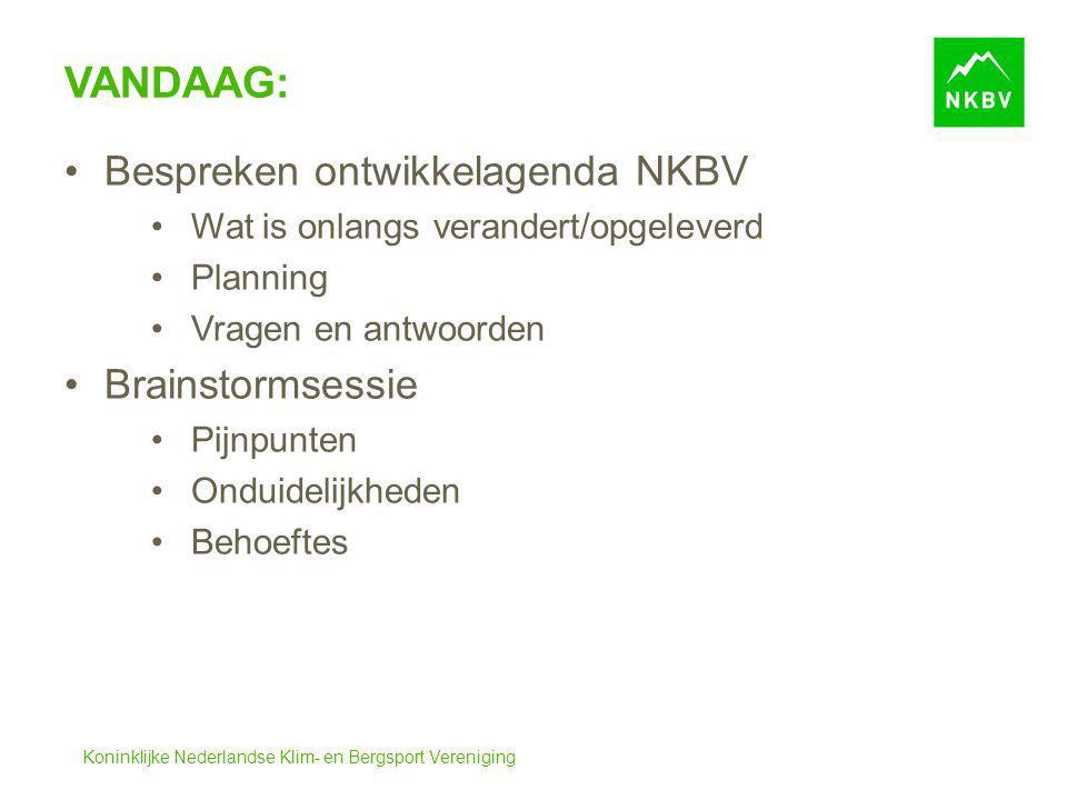 Koninklijke Nederlandse Klim- en Bergsport Vereniging VANDAAG: Bespreken ontwikkelagenda NKBV Wat is onlangs verandert/opgeleverd Planning Vragen en a
