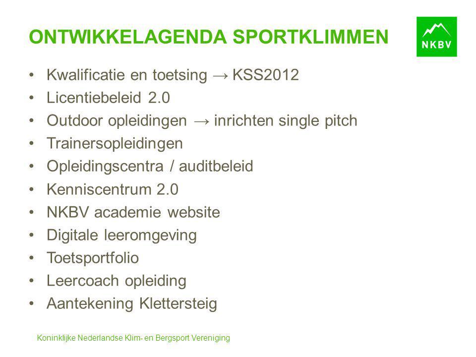 Koninklijke Nederlandse Klim- en Bergsport Vereniging ONTWIKKELAGENDA SPORTKLIMMEN Kwalificatie en toetsing → KSS2012 Licentiebeleid 2.0 Outdoor oplei