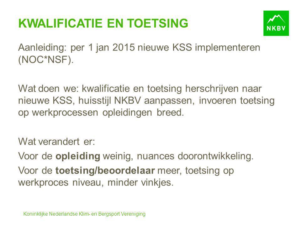 Koninklijke Nederlandse Klim- en Bergsport Vereniging KWALIFICATIE EN TOETSING Aanleiding: per 1 jan 2015 nieuwe KSS implementeren (NOC*NSF). Wat doen
