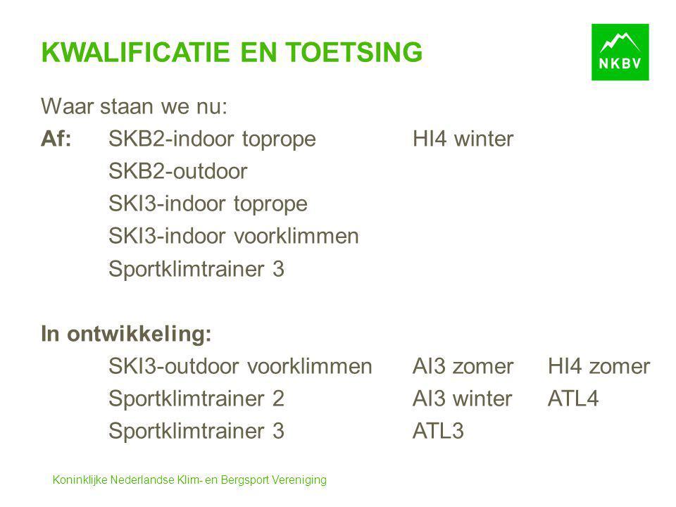 Koninklijke Nederlandse Klim- en Bergsport Vereniging KWALIFICATIE EN TOETSING Waar staan we nu: Af:SKB2-indoor topropeHI4 winter SKB2-outdoor SKI3-in