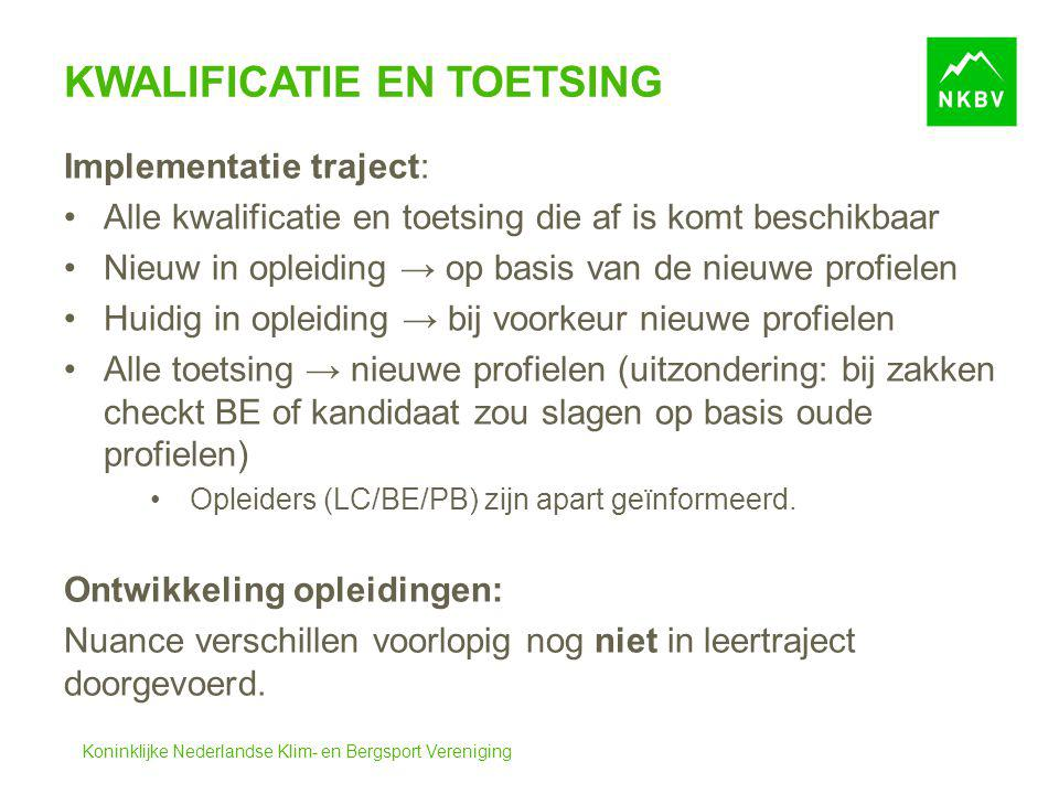 Koninklijke Nederlandse Klim- en Bergsport Vereniging KWALIFICATIE EN TOETSING Implementatie traject: Alle kwalificatie en toetsing die af is komt bes