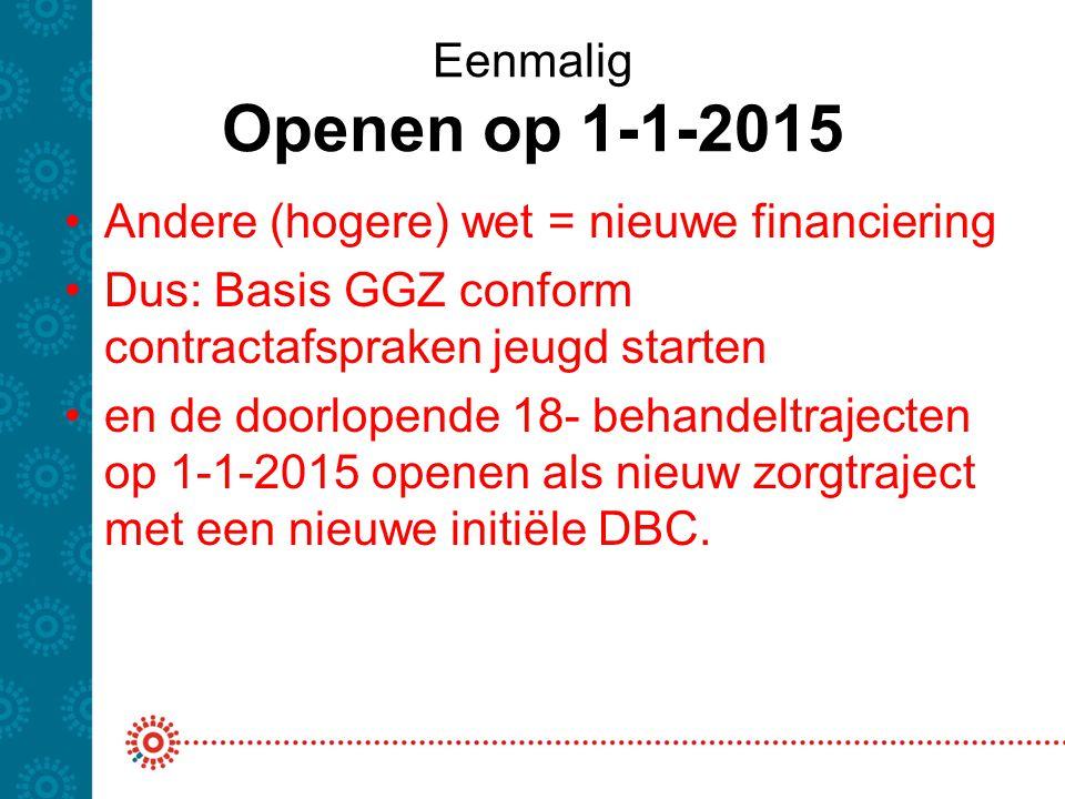 Eenmalig Openen op 1-1-2015 Andere (hogere) wet = nieuwe financiering Dus: Basis GGZ conform contractafspraken jeugd starten en de doorlopende 18- beh