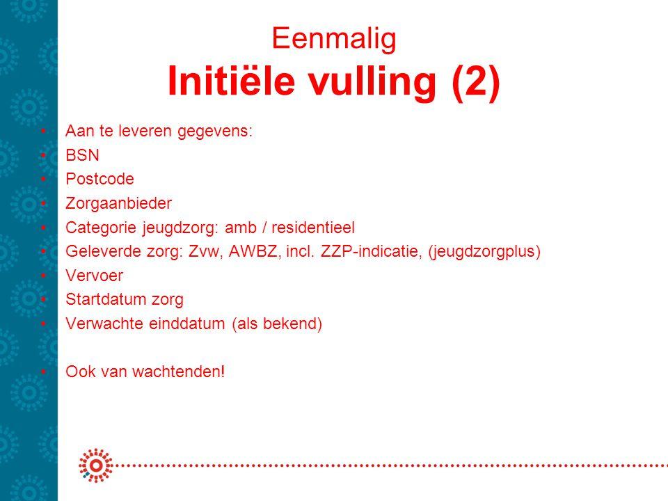 Eenmalig Initiële vulling (2) Aan te leveren gegevens: BSN Postcode Zorgaanbieder Categorie jeugdzorg: amb / residentieel Geleverde zorg: Zvw, AWBZ, i