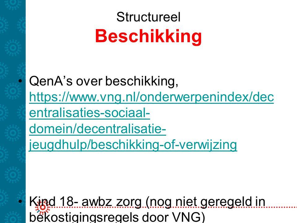 Structureel Beschikking QenA's over beschikking, https://www.vng.nl/onderwerpenindex/dec entralisaties-sociaal- domein/decentralisatie- jeugdhulp/besc