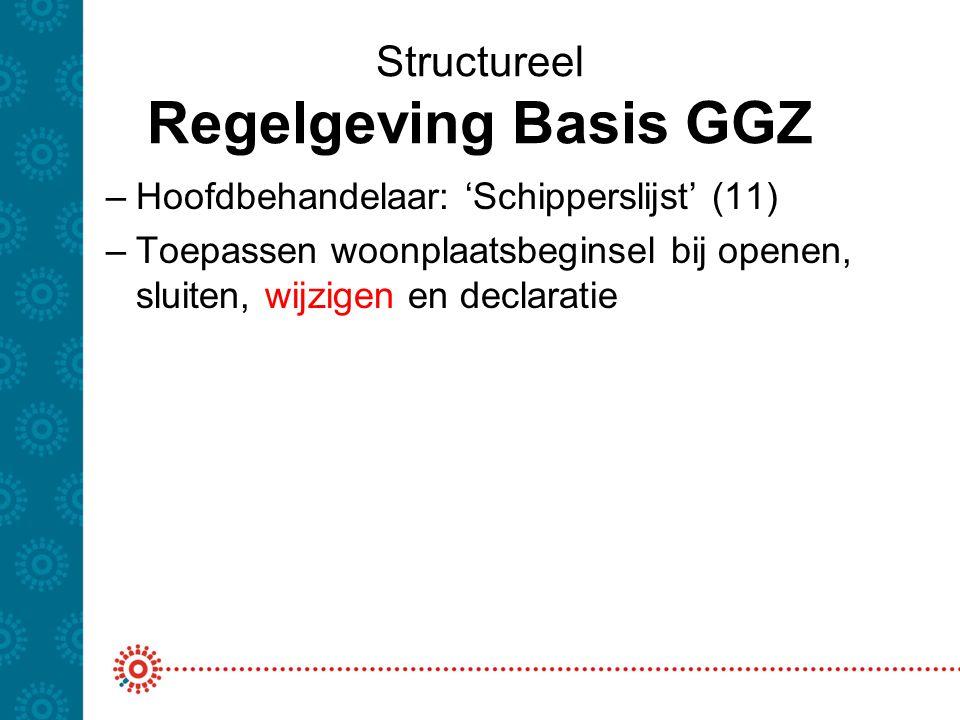 Structureel Regelgeving Basis GGZ –Hoofdbehandelaar: 'Schipperslijst' (11) –Toepassen woonplaatsbeginsel bij openen, sluiten, wijzigen en declaratie