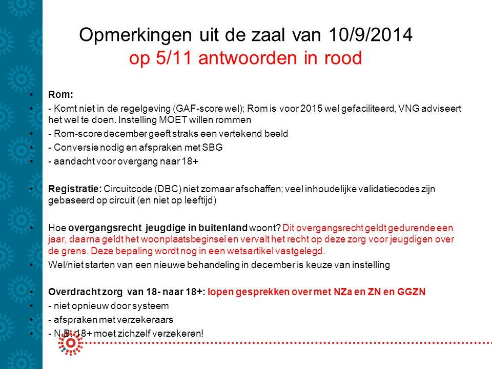 Opmerkingen uit de zaal van 10/9/2014 op 5/11 antwoorden in rood Rom: - Komt niet in de regelgeving (GAF-score wel); Rom is voor 2015 wel gefaciliteer