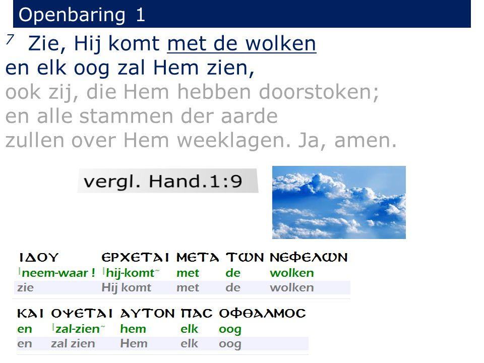 Openbaring 1 7 Zie, Hij komt met de wolken en elk oog zal Hem zien, ook zij, die Hem hebben doorstoken; en alle stammen der aarde zullen over Hem weeklagen.