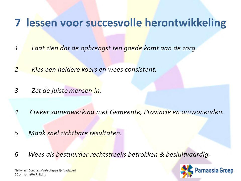 7 lessen voor succesvolle herontwikkeling 1 Laat zien dat de opbrengst ten goede komt aan de zorg. 2 Kies een heldere koers en wees consistent. 3 Zet