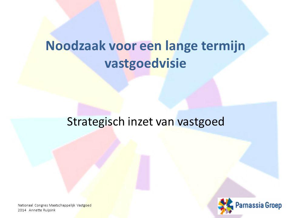 Strategische elementen Flexibiliteit Eigendom is geen doel 'Voorkeur' voor huur, zodat vermogen kan worden aangewend voor zorgproces Investeren in zorg-specifieke aanpassingen (HNW, domotica etc) Geen rol als woningverhuurder willen Toekomstbestendig zorgvastgoed Nationaal Congres Maatschappelijk Vastgoed 2014 Annette Ruijsink