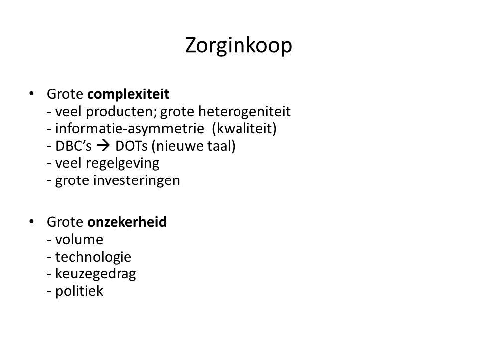 Zorginkoop Grote complexiteit - veel producten; grote heterogeniteit - informatie-asymmetrie (kwaliteit) - DBC's  DOTs (nieuwe taal) - veel regelgevi