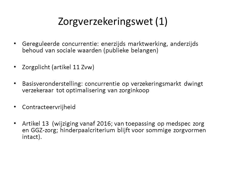 Zorgverzekeringswet (1) Gereguleerde concurrentie: enerzijds marktwerking, anderzijds behoud van sociale waarden (publieke belangen) Zorgplicht (artik