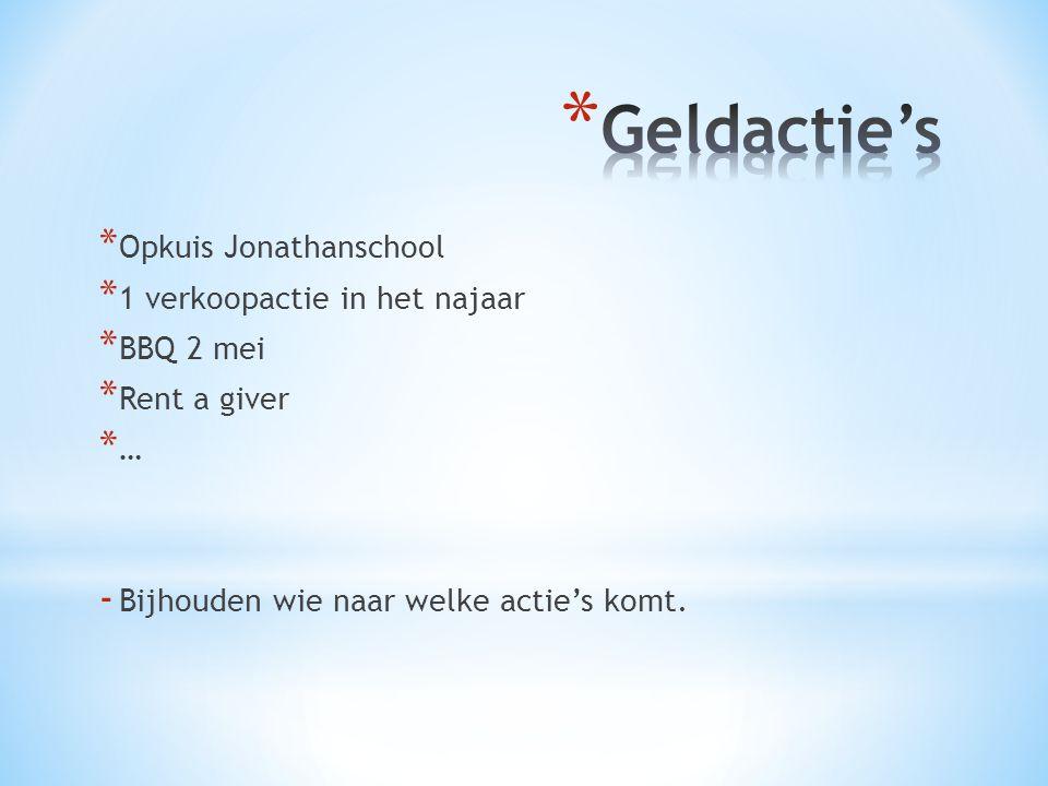 * Opkuis Jonathanschool * 1 verkoopactie in het najaar * BBQ 2 mei * Rent a giver * … - Bijhouden wie naar welke actie's komt.