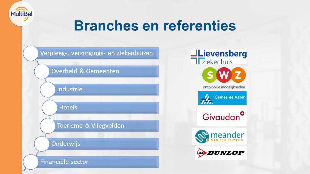 Branches en referenties Verpleeg-, verzorgings- en ziekenhuizen Overheid & Gemeenten Industrie Hotels Toerisme & Vliegvelden Onderwijs Financiële sector
