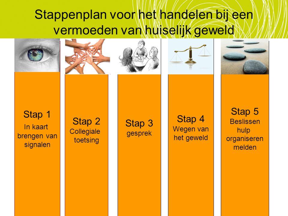 Stappenplan voor het handelen bij een vermoeden van huiselijk geweld Stap 1 In kaart brengen van signalen Stap 2 Collegiale toetsing Stap 3 gesprek St