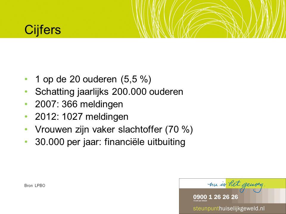 Cijfers 1 op de 20 ouderen (5,5 %) Schatting jaarlijks 200.000 ouderen 2007: 366 meldingen 2012: 1027 meldingen Vrouwen zijn vaker slachtoffer (70 %)