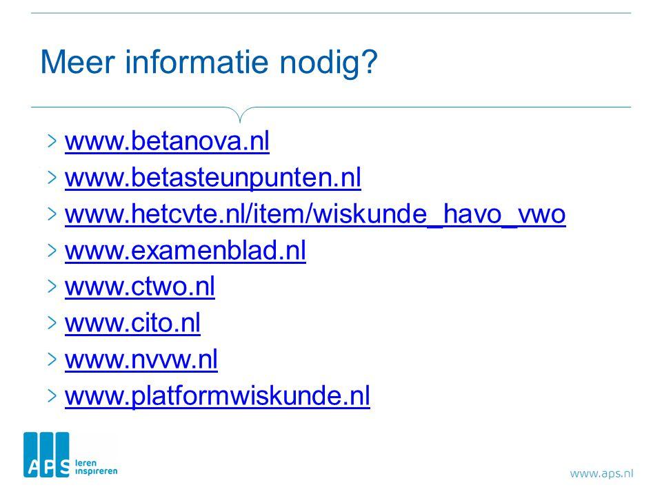 Meer informatie nodig? www.betanova.nl www.betasteunpunten.nl www.hetcvte.nl/item/wiskunde_havo_vwo www.examenblad.nl www.ctwo.nl www.cito.nl www.nvvw