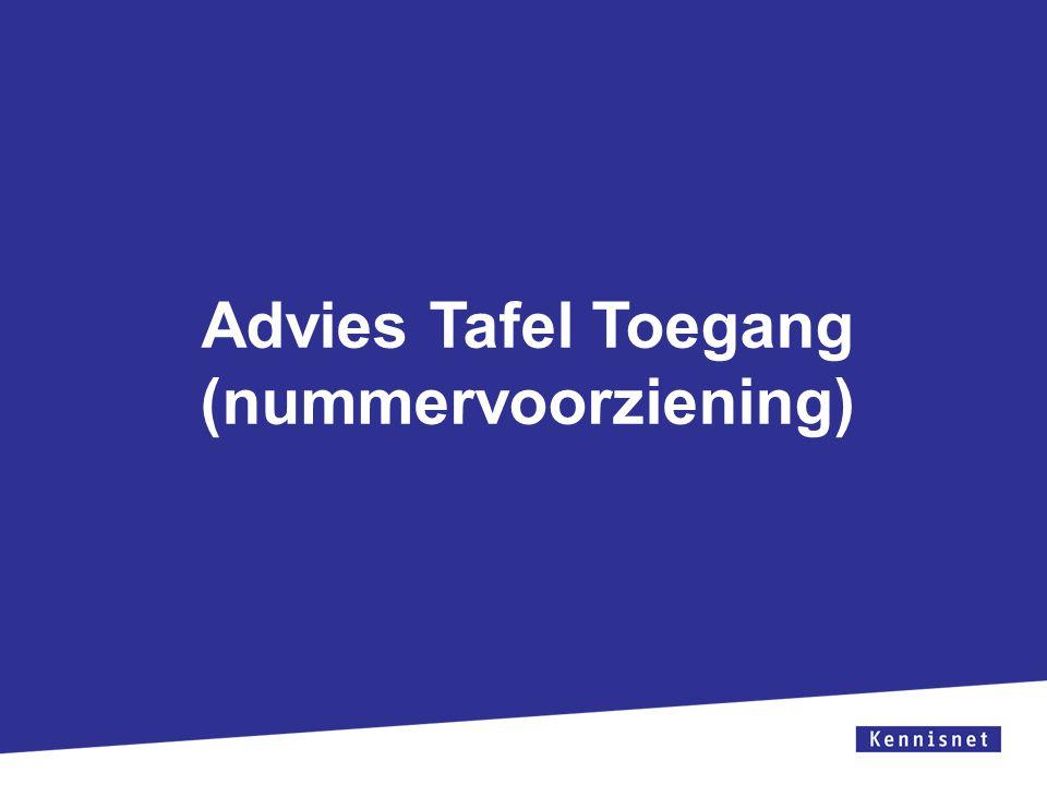 Zorg ervoor dat het tekstvak niet over de witruimte en het logo geplaatst wordt. Zorg ervoor dat de titel uit 1 regel bestaat. Advies Tafel Toegang (n